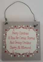 Silver Glitter Merry Christmas Lights Hanging Plaque